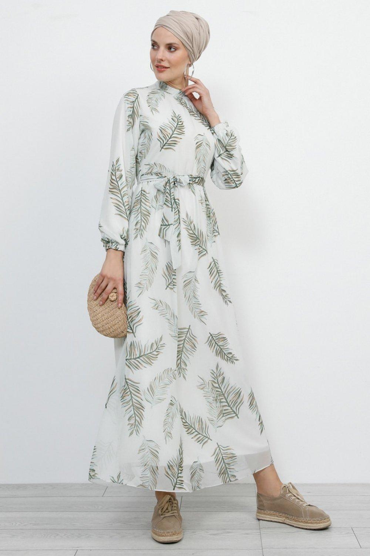 Refka Soft Haki Desenli Şifon Elbise