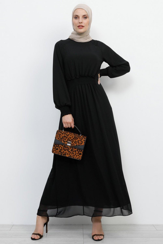 Refka Siyah Gipe Detaylı Şifon Elbise