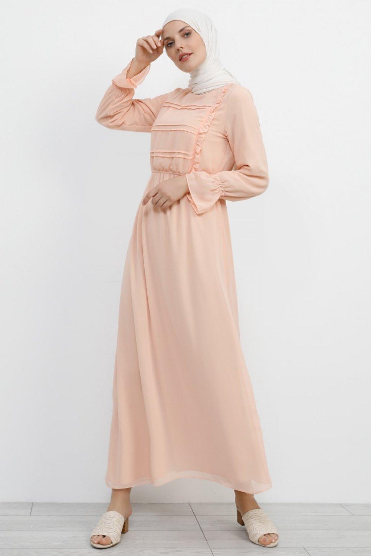 Refka Yavruağzı Somon Fırfır Detaylı Şifon Elbise