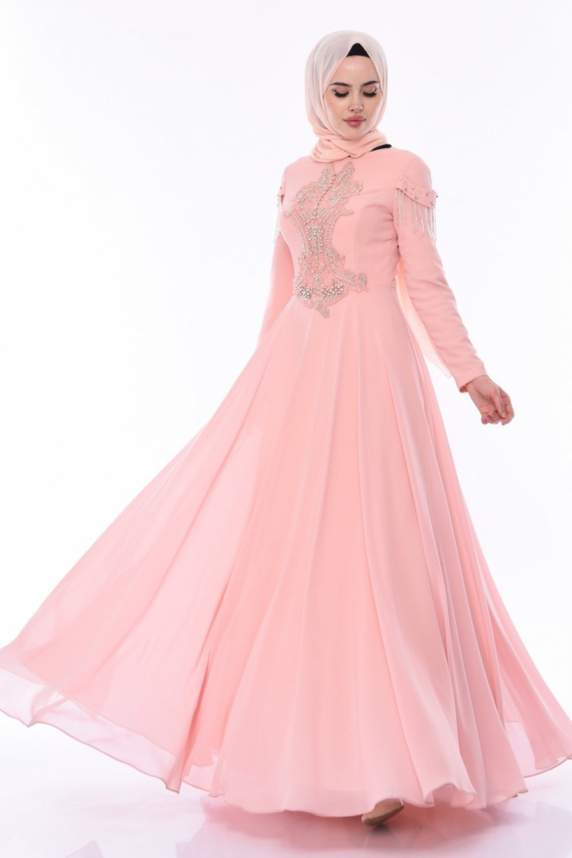bbb5dd8b24a81 Sefamerve Somon Taşlı Abiye Elbise | ElbiseBul