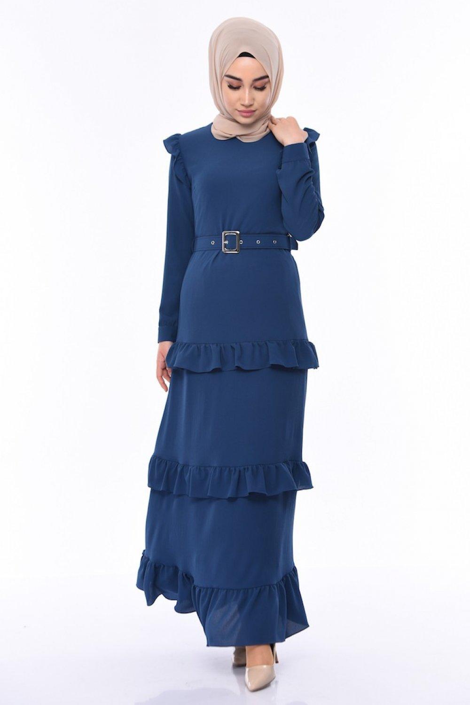 Sefamerve İndigo Kemerli Fırfırlı Elbise