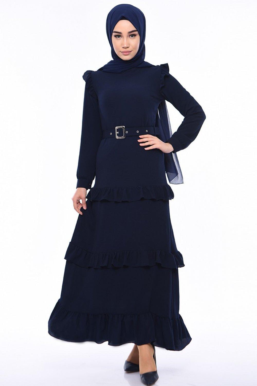 Sefamerve Lacivert Kemerli Fırfırlı Elbise