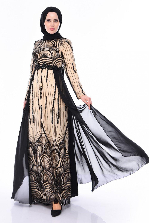 Sefamerve Siyah Bej Payetli Abiye Elbise