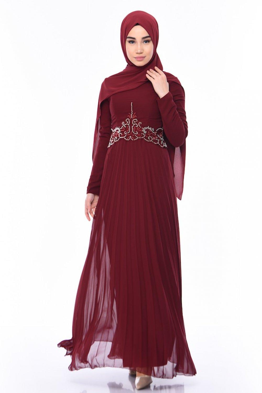 Sefamerve Bordo Boncuk İşlemeli Abiye Elbise
