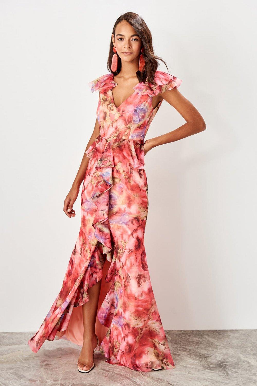 41a8ed3671fd8 Trendyolmilla Çok Renkli Tüllü Uzun Abiye Elbise | ElbiseBul