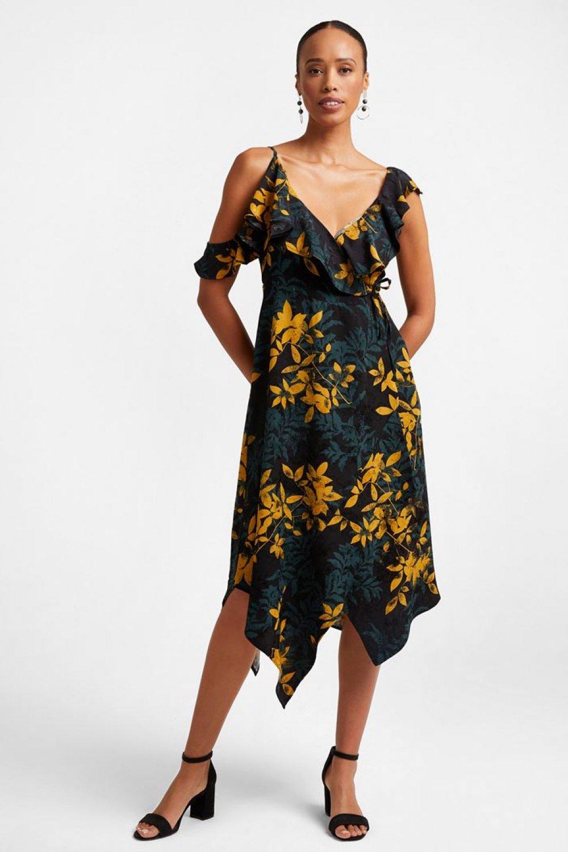 Oxxo Askılı Renkli Çiçek Desenli Volanlı Midi Elbise