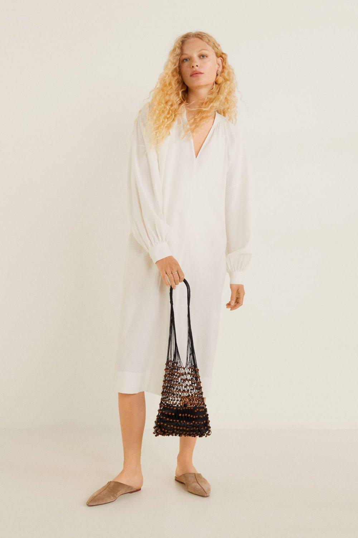 Mango Kırık Beyaz Balon Kollu Pamuklu Midi Elbise