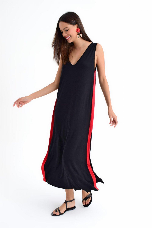 13d693e8f952f Cool & Sexy Askılı Siyah Yanları Şeritli Salaş Uzun Elbise | ElbiseBul