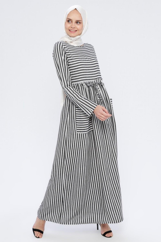 BÜRÜN Siyah Çizgili Elbise