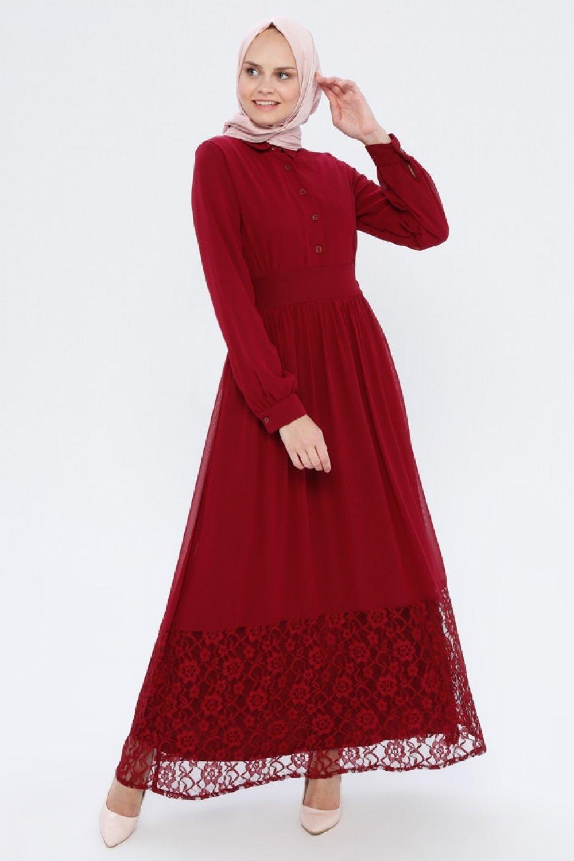 BÜRÜN Bordo Dantel Detaylı Abiye Elbise
