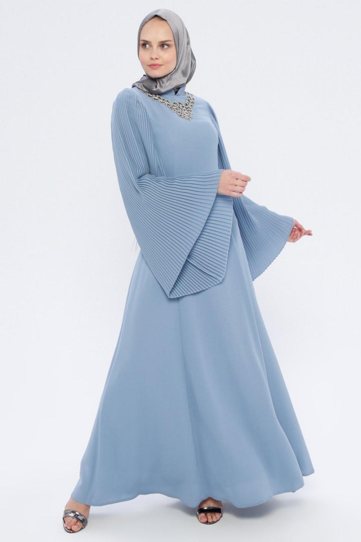 4c46cbc7f7dc4 Loreen By Puane İndigo Mavi Taşlı Abiye Elbise | ElbiseBul