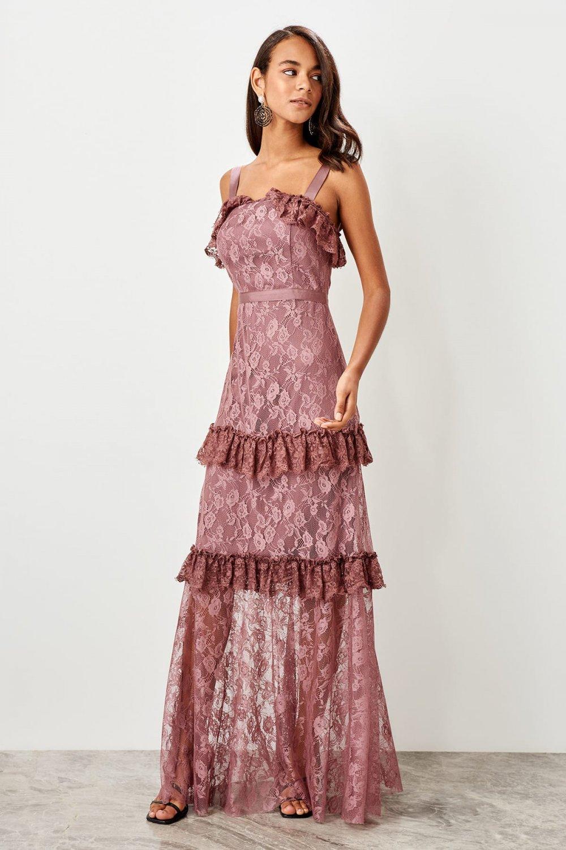 Trendyolmilla Askılı Gül Kurusu Dantel Detaylı Uzun Abiye Elbise