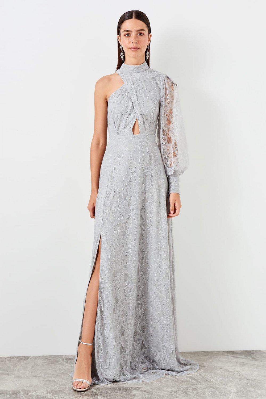 Trendyolmilla Gri Bel Dekolteli Dantel Uzun Abiye Elbise