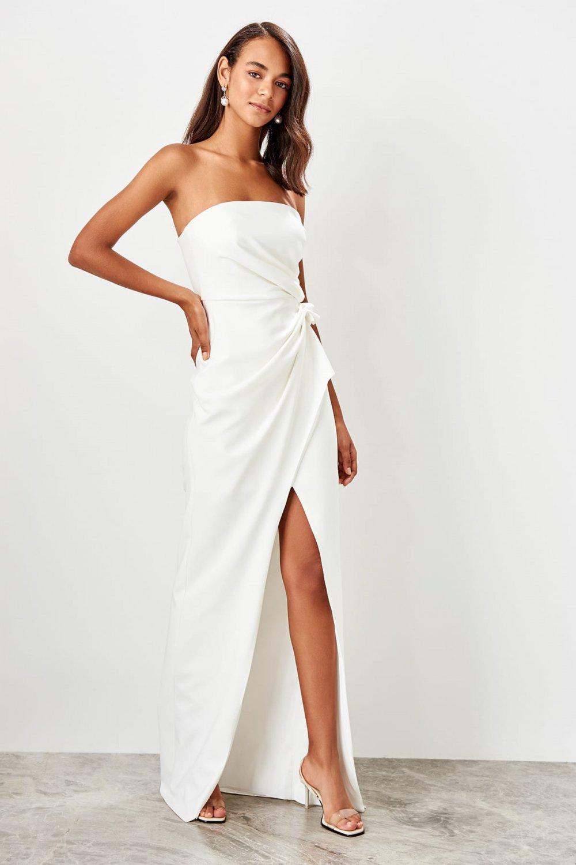 Trendyolmilla Straplez Ekru Büzgü Detaylı Uzun Abiye Elbise