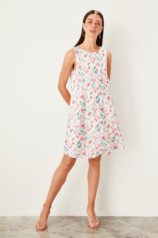 Trendyolmilla Ekru Desenli Mini Elbise