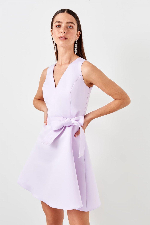 Trendyolmilla Lila Kuşak Detaylı Mini Elbise