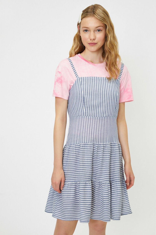Koton Askılı Çizgili Lacivert Mini Elbise