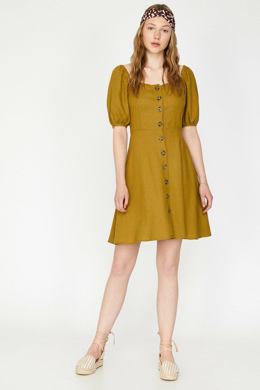 Koton Doğal Dokulu Haki Mini Elbise
