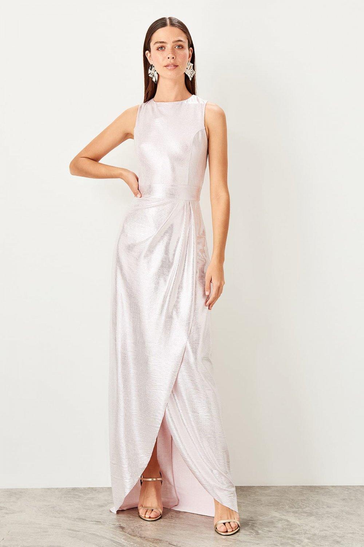 Trendyolmilla Pembe Parlak Anvelop Uzun Abiye Elbise