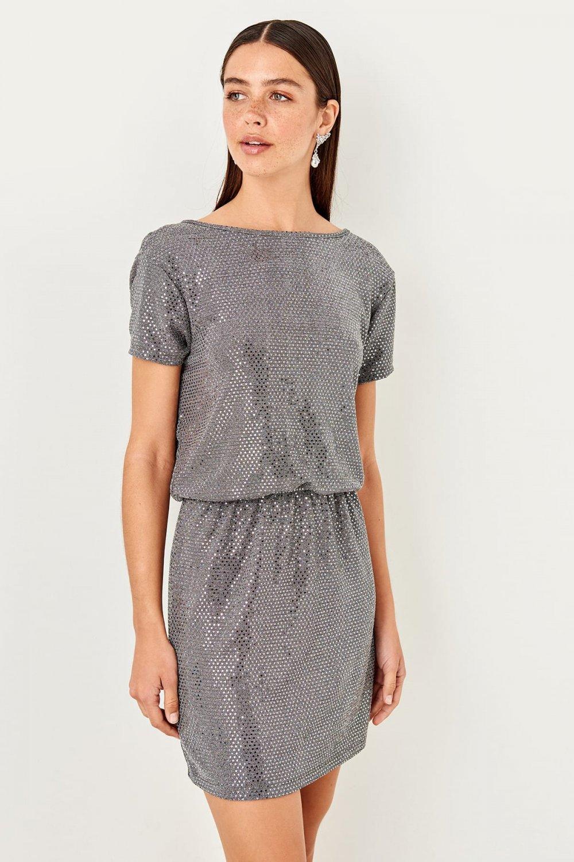 Trendyolmilla Gri Sırt Detaylı Mini Elbise