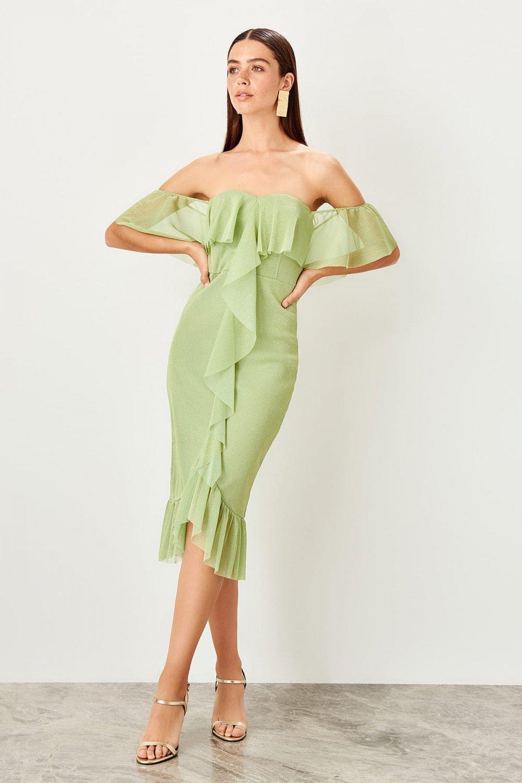 Trendyolmilla Straplez Yeşil Volan Detaylı Işıltılı Midi Elbise