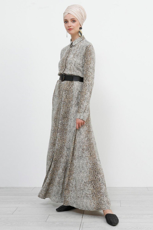 Refka Kahverengi Doğal Kumaşlı Gizli Düğmeli Desenli Elbise