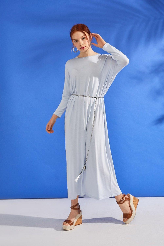 Muni Muni Mavi Zincir Kemerli Doğal Kumaşlı Yazlık Elbise