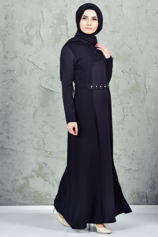 Sefamerve Siyah İncili Kuşaklı Elbise
