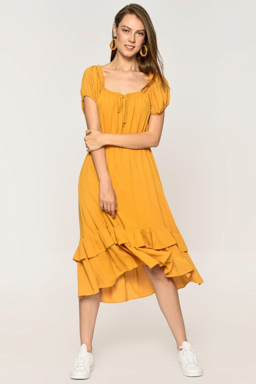Loves You Hardal Carmen Yaka Katlı Midi Elbise