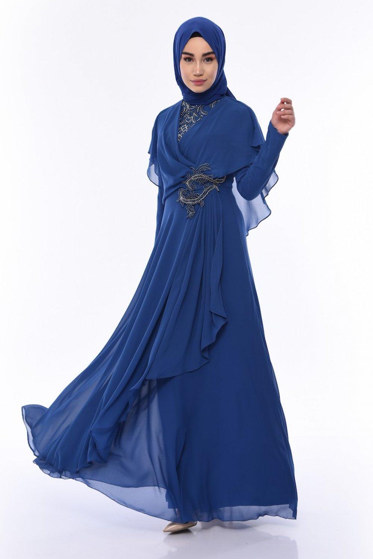 Sefamerve İndigo Boncuk İşlemeli Abiye Elbise