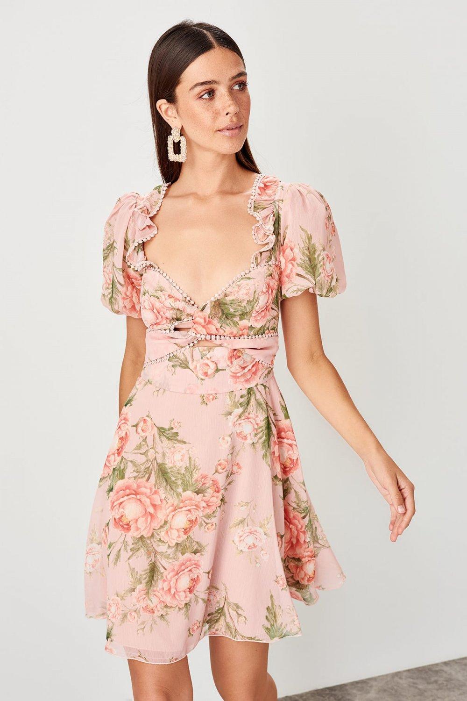 Trendyolmilla Pudra Fırfırlı Mini Elbise