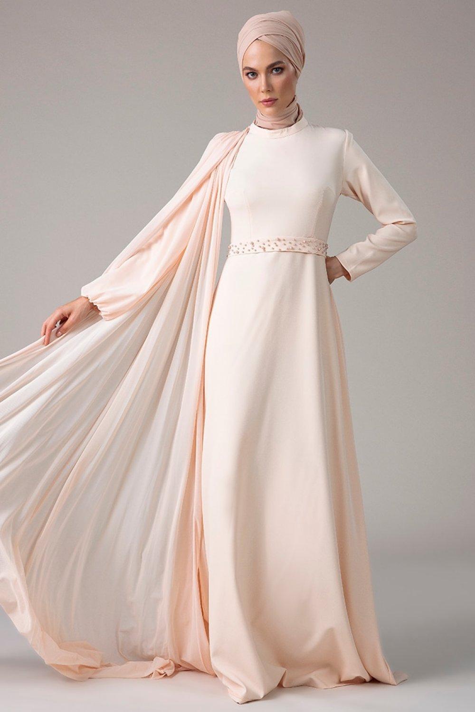 Mwedding Pudra Şifon Parçalı Abiye Elbise