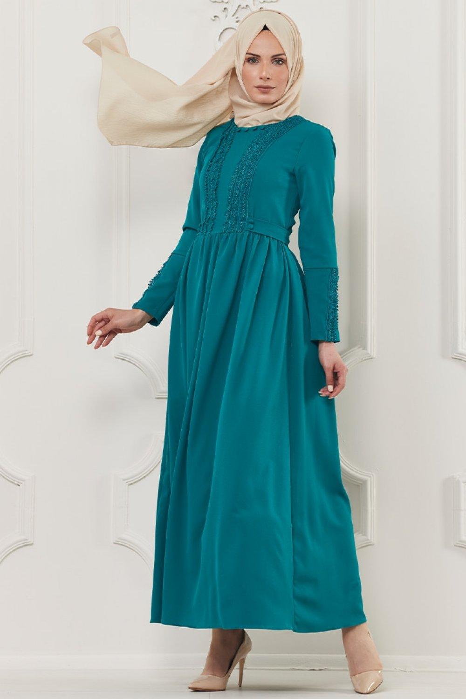Butik Neşe Yeşil Güpür Süslemeli Elbise