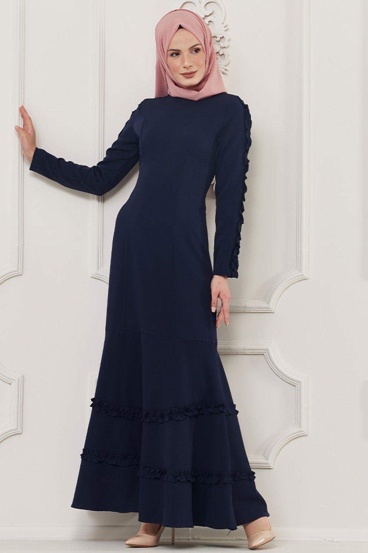 Butik Neşe Lacivert Fırfır Süslemeli Elbise