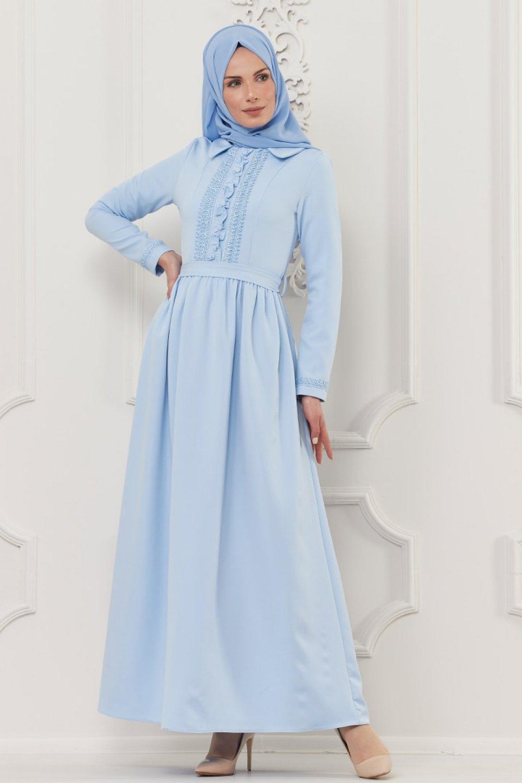 Butik Neşe Mavi Güpür Süslemeli Elbise