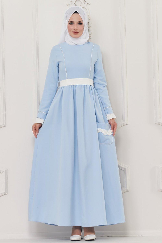 Butik Neşe Mavi Cep Detaylı Elbise
