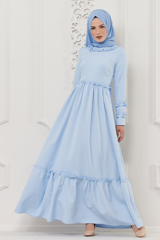 Butik Neşe Mavi Fırfırlı Elbise