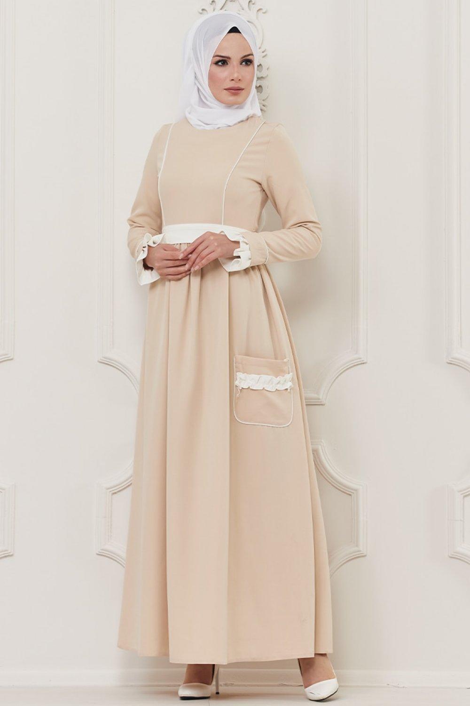 Butik Neşe Krem Cep Detaylı Elbise