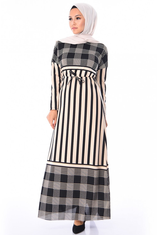 Sefamerve Vizon Çizgili Yazlık Elbise