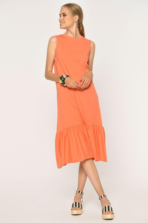 Loves You Yavruağzı Eteği Fırfırlı Likralı Örme Midi Elbise