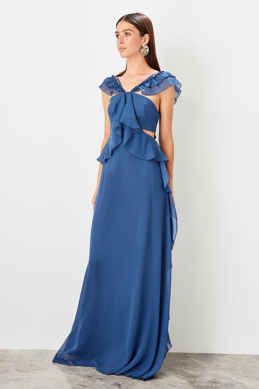 Trendyolmilla Indigo Fırfır Detaylı Uzun Abiye Elbise