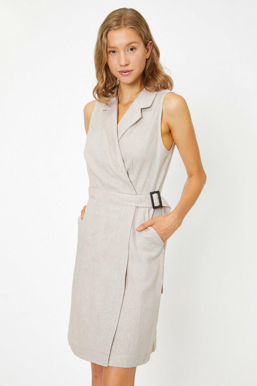 Koton Kemer Detaylı Bej Mini Elbise