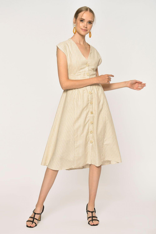 Loves You Belİ Korsajlı Keten Midi Elbise