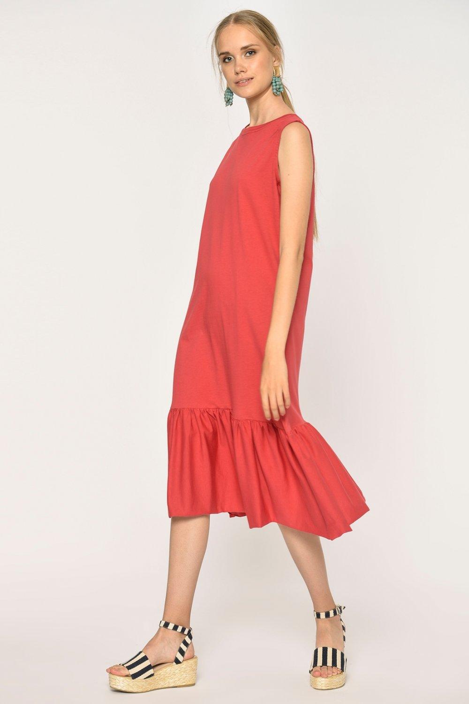 Loves You Mercan Eteği Fırfırlı Likralı Kolsuz Örme Midi Elbise