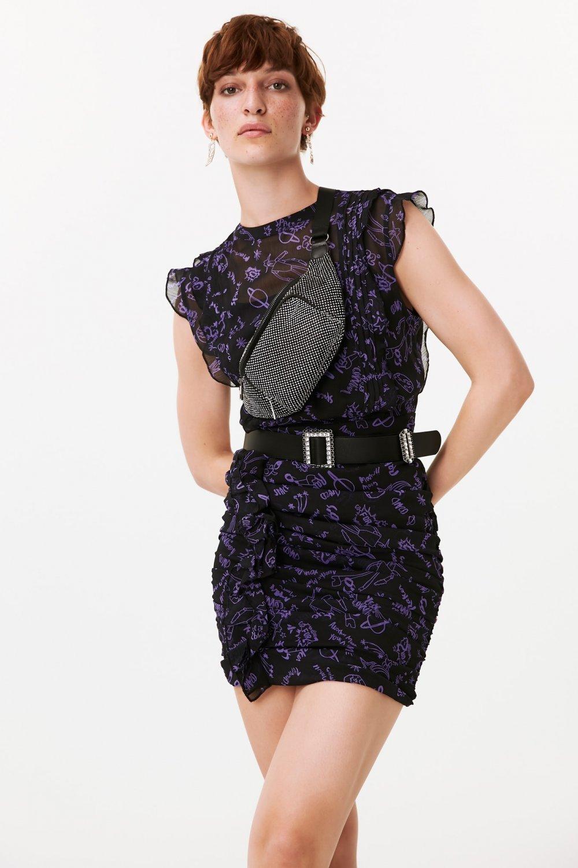 Twist Uzay Baskılı Fırfır Şeritli Mini Elbise