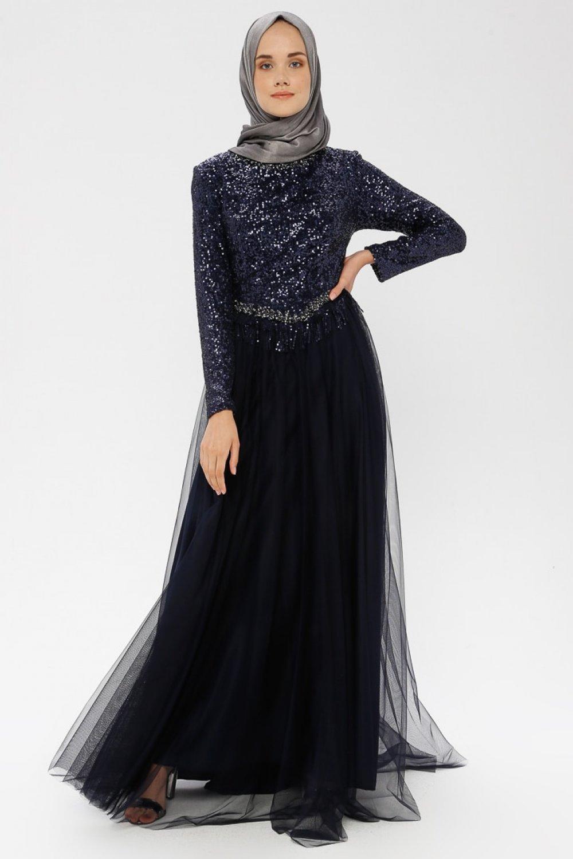 MODAYSA Lacivert Payetli Abiye Elbise