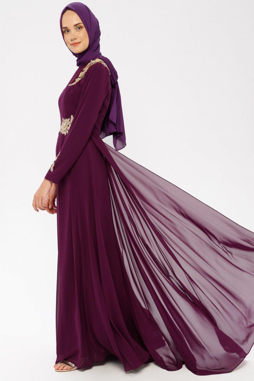 MODAYSA Mürdüm Güpür Detaylı Abiye Elbise