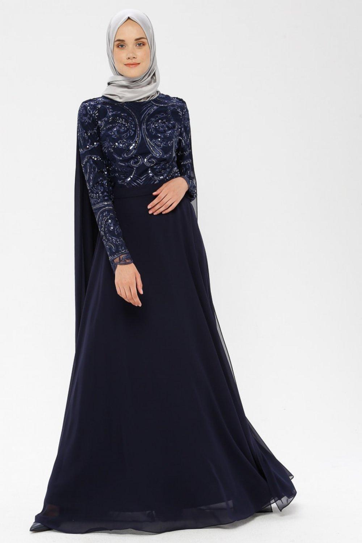 MODAYSA Lacivert Tüllü Abiye Elbise
