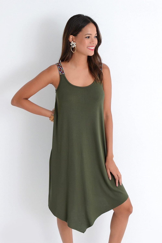 Cool & Sexy Haki Asimetrik Askılı Mini Elbise