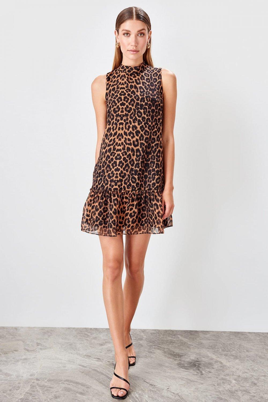 Trendyolmilla Siyah Leopar Desenli Mini Elbise